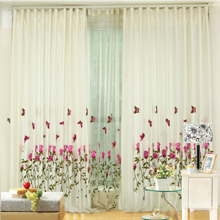 Home window decoration rose embroidered curtain living for Living room 6m