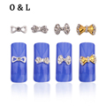 10pcs Crystal Rhinestone Glitter Bow Nail Art Tips Decoration Gold Silver Alloy Charm Nail Supplies