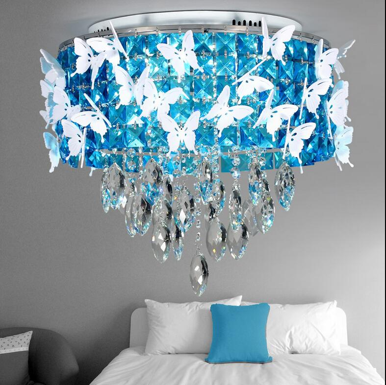 Circle crystal lamp bedroom blue brief modern remote control dimming palette ceiling light(China (Mainland))