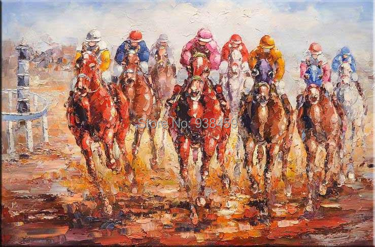 Original 100% hand-painted oil painting horse racing sports art, modern wall art home decoration canvas for living room 24x36(China (Mainland))