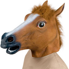 New Horse Head Mask Creepy Halloween Costume Fur Mane Latex Realistic(China (Mainland))