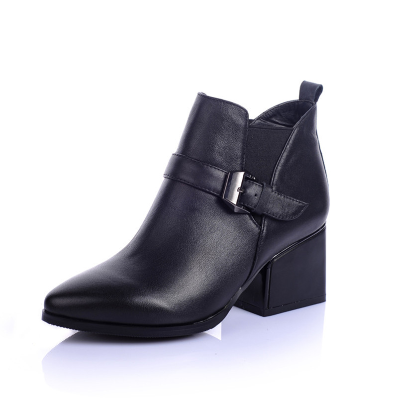 2016 fashion hot sale autumn winter genuine leather pointed toe boots sexy thick high heels elastic band women boots<br>