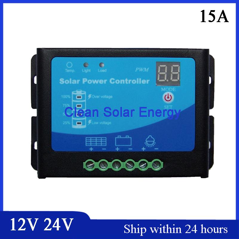 PWM Mode 15A Automatic Change 12V/24V Smart 24V 15A PWM Solar Charge Controller Whole Al Shell Emergency Light