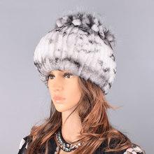 Raglaido Fur Hats for Women Winter Real Rex Rabbit Hat floral kniting female warm snow caps ladies elegant princess hat LQ11299(China)