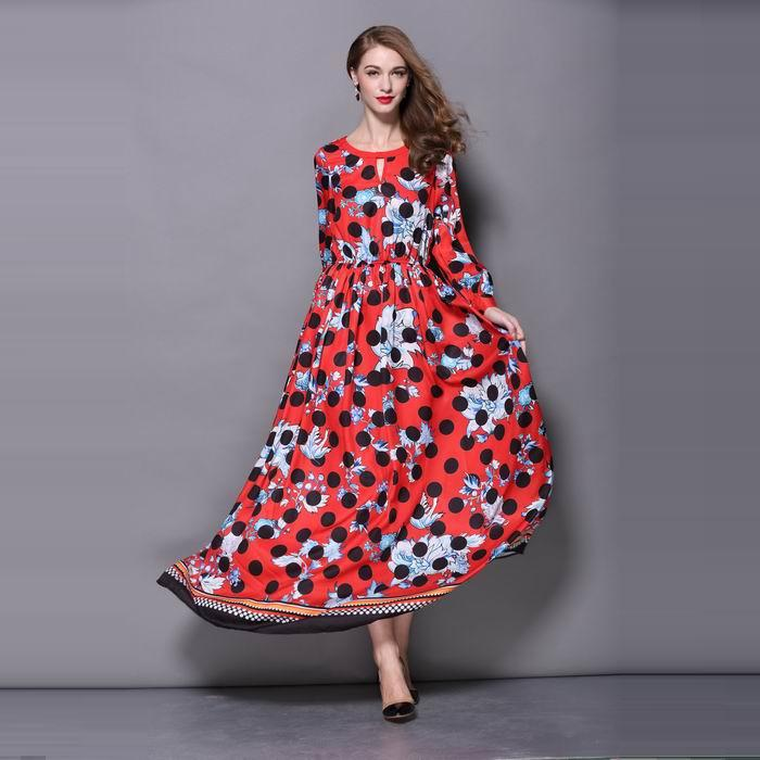Top Quality New 2015 Fashion Formal Long Dress Ladies Polka Dot Floral Print Long Sleeve Casual Maxi Dress Floor Length XL(China (Mainland))