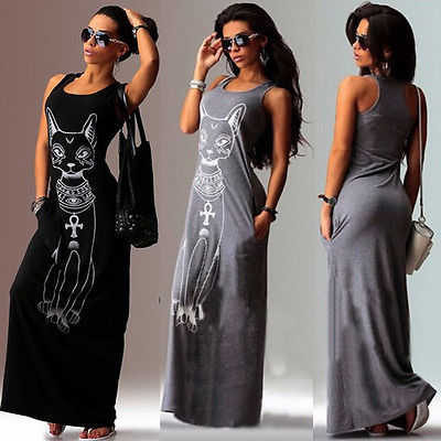 Women Summer Sexy Casual Boho Long Maxi Evening Party Beach Dress Vest Sundress
