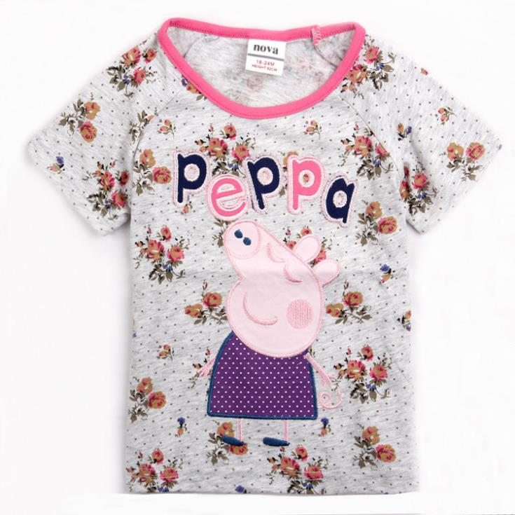 Free Shipping K4051 # pink pig Child Girls Tunic Top Short Sleeve Tees For Kids 2014 Children Cotton Wear(China (Mainland))