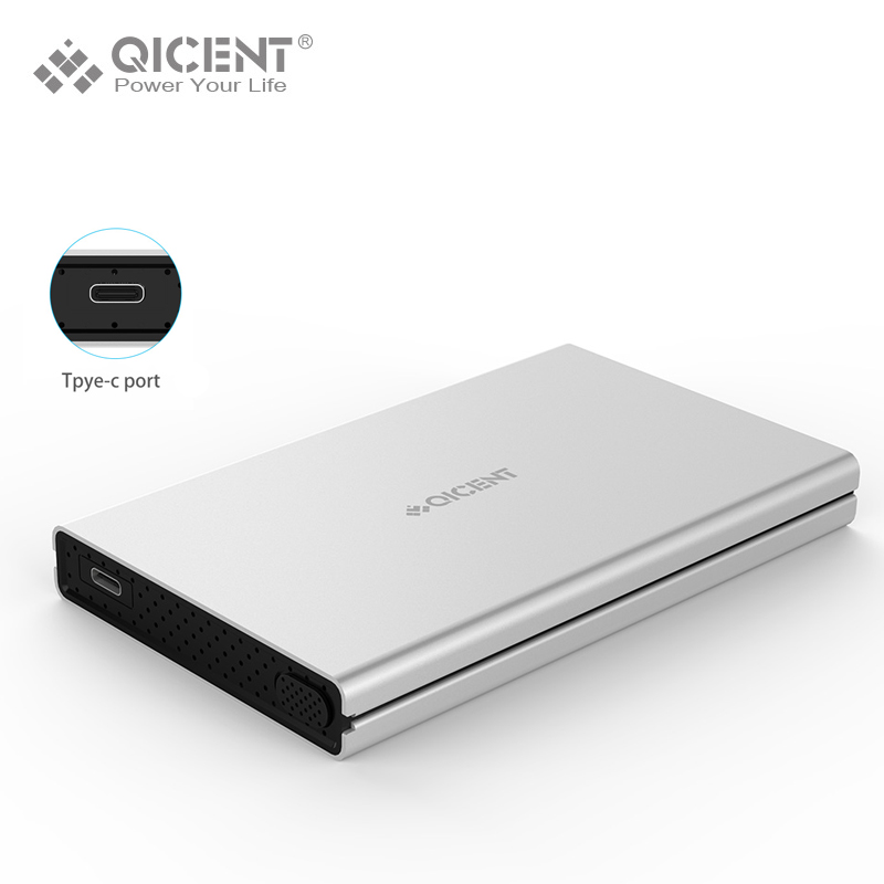 QICENT Aluminum 2.5 Inch USB 3.0 HDD External Enclosure Case with USB-C Port and Type C Cable for 9.5mm 7mm HDD and SSD Toolness(China (Mainland))