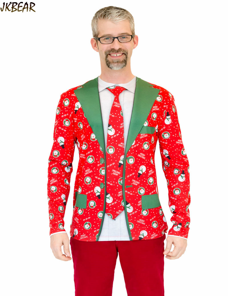 Funny ugly christmas t shirts for men fake suit tuxedo blazer tie two