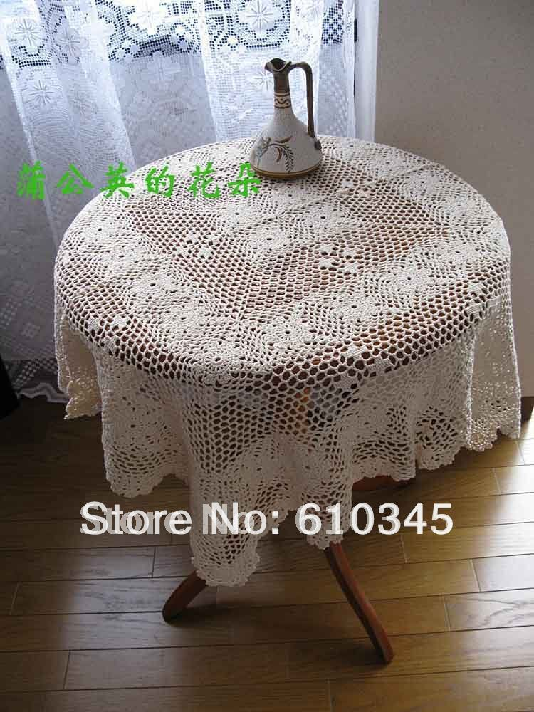 Free Shipping Hot selling 100% cotton hand knitting Crochet tablecloth110x110cm Table cover table cloth(China (Mainland))