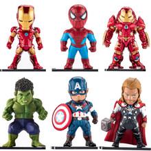 6 pçs/set Os Vingadores Super Herói Homem De Ferro Hulk Capitão América Thor Spiderman Batman Figuras de Ação Coleção Brinquedos de Presente # E(China)