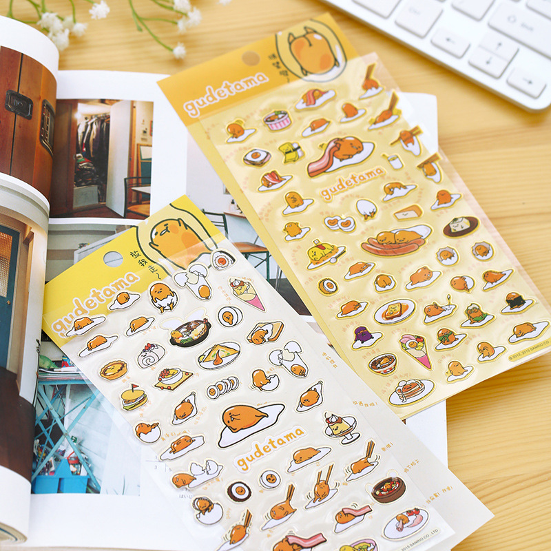 2pcs Cute Sanrio Gudetama Lazy Egg Stickers Diary Sticker Scrapbook Decoration PVC Stationery DIY Stickers School Office Supply(China (Mainland))