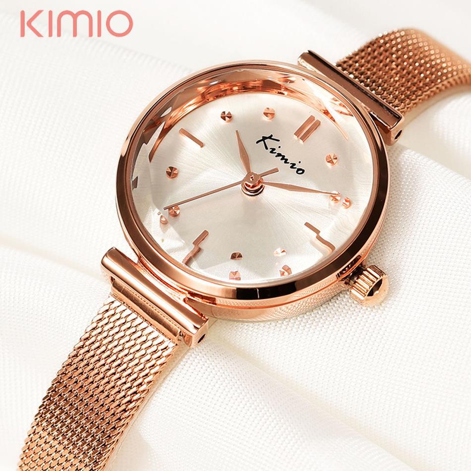 Kimio Woman's Watch Luxury Brand 2016 Gold Mesh Metal Chrystal Ladies Bracelet Watch Dress Table zegarek damski saat kadin(China (Mainland))