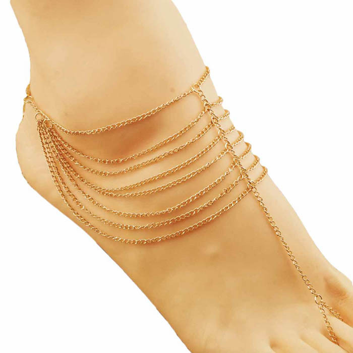 Durable Chic Beach Fashion Multi Tassel Toe Bracelet Chain Link Foot Jewelry Anklet - Stone's Shop store