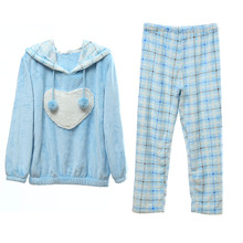 Song Riel thick cozy flannel pajamas cute couple male hooded tracksuit suit Ms Zhengsheng elegant