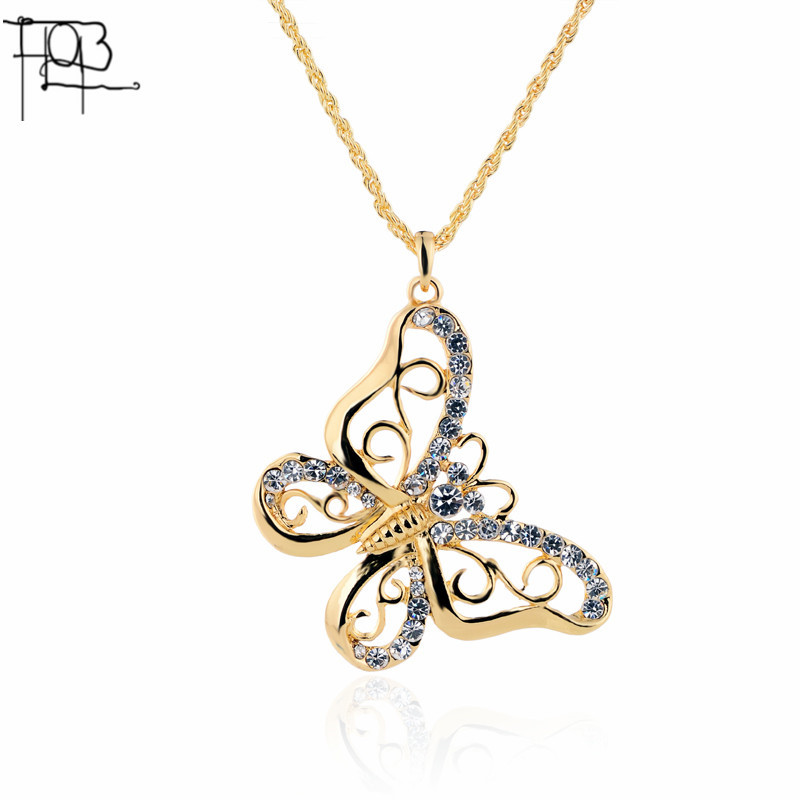 Gold Plated Rhinestone CZ Dimonds Butterfly Pendant Necklace Long Necklace fashion necklaces for women 2016(China (Mainland))
