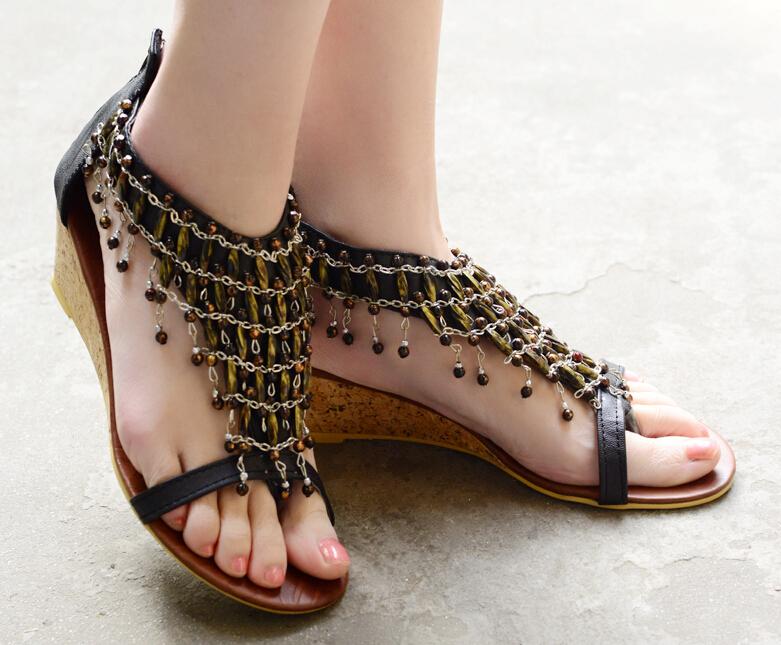 Big size 35-43 new 2015 gladiator sandals women,fashion women wedges flip flops summer shoes woman - Forrest Wang's store