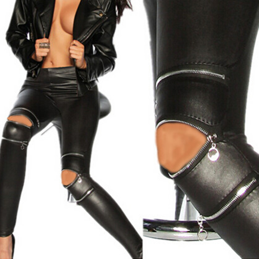 Womens Black faux Leather Leggins Swag Punk Rock Ziper Hole Breeches Leggings Fitness For Women Jeggings 2015 Sexy Skinny PantsОдежда и ак�е��уары<br><br><br>Aliexpress