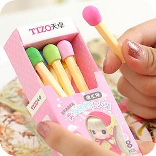 Korea stationery school supplies cartoon rubber girls small matches boxed eraser prize office & - Travel commitments store