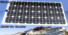 200W flexible monocrystalline solar panel 100% Class A for sunroof,outdoor Diy,RV,Car,Boat,12V battery(China (Mainland))