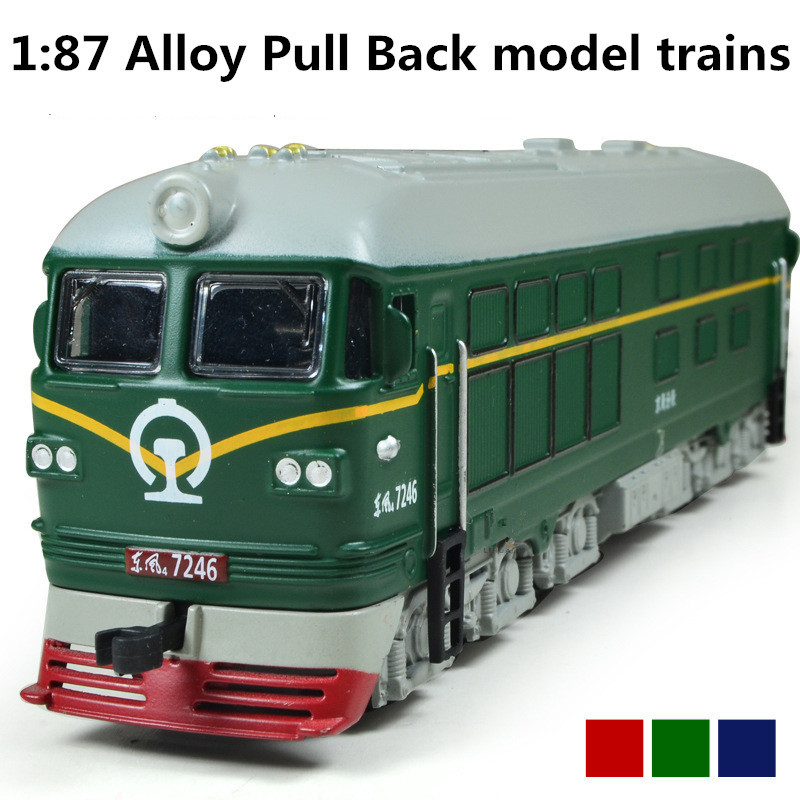 Alloy model trains, 1: 87 alloy pull back train, engine train, classic children's toys, Diecasts & Toy Vehicles, free shipping(China (Mainland))