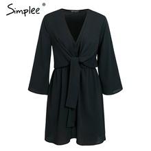 Simplee בציר ארוך שרוול שיפון קיץ שמלת נשים פרפר שחור משרד תחבושת שמלות סקסי אדום נקבה גבירותיי קצר שמלת festa(China)