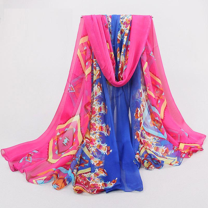2015 Hot Sale Fashion Chiffon Silk Scarf Summer woman scarf Sunscreen Beach Towel Women's print shawls and hijabs Wrap180 *150(China (Mainland))