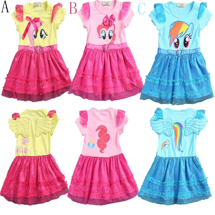 6pcs/lot summer kids clothes my little pony dress gril short sleeve dress casual dress kids dresses gril dress<br><br>Aliexpress