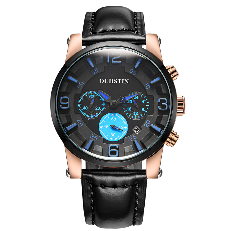 Top Luxury Brand OCHSTIN Men Sports Watches Men's Quartz Hours Chronograph 6 Hands Clock Man Leather Strap Military Wrist Watch(China (Mainland))