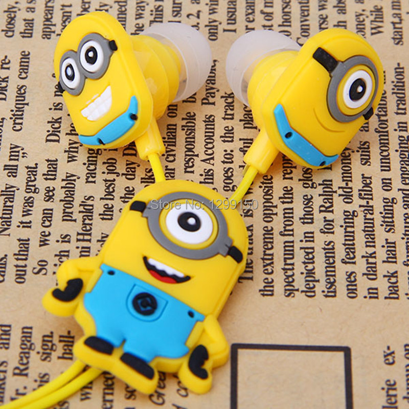 New fashion high quality lovely Despicable Me Cartoon headphones In-ear noise isolating sport earphone fone de ouvido Yellow(China (Mainland))