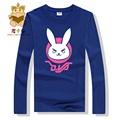 High quality cotton long sleeve t shirt DVA character rabbit pink and white print tee shirt