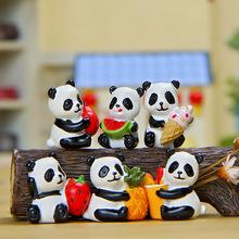 6PCS Animals World Cute Panda Fruit Cake Ornamnet Staric Model Resin Action Figures Toys Gift for Kids