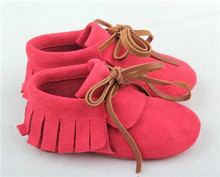 100pairs/lot Lace-up fringe bow Genuine Leather Baby Moccasins shoes
