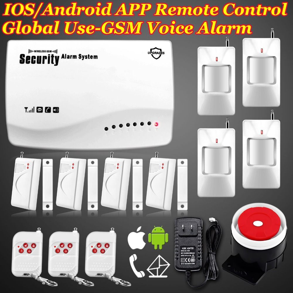 IOS/Android APP Controlled 850/900/1800/1900MHz Wireless GSM Secure home Voice alarm system Built-in speaker F intercom Security(China (Mainland))