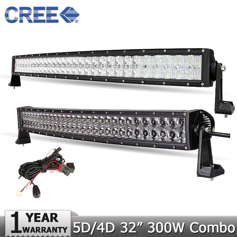 300W 32 inch Curved LED Offroad Light Bar CREE 5D 4D Led Work Light Driving Combo
