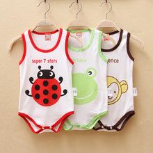 KNB Baby summer wear bebe clothing bodysuits boys girls 3 color cartoon animal sleeveless jumpsuit 2014 cotton in stock AB14016(China (Mainland))