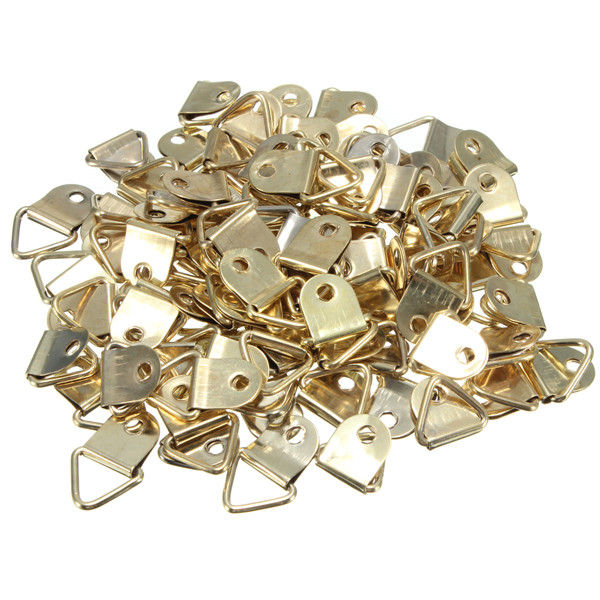 Wholesale universal Strong Golden 100pcs D Rings Decor Picture Frames Hanger Hooks Hanging Triangle Screws Helper High Quality(China (Mainland))