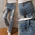 Youth fashion ripped broken hole loose casual ankle length denim harem pants high waist distressed cropped