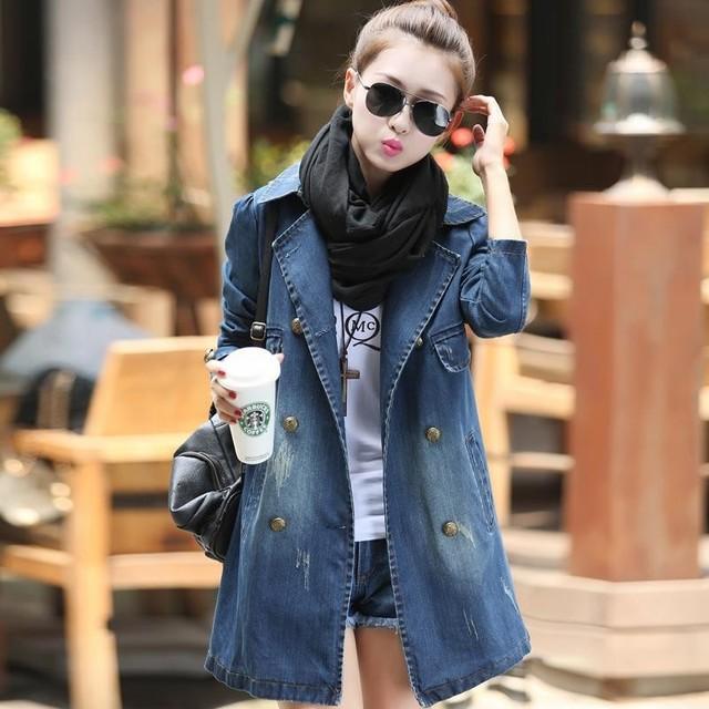 Плюс размер Джинса пальто для женщин новый 2016 однобортный джинсы траншеи верхняя ...