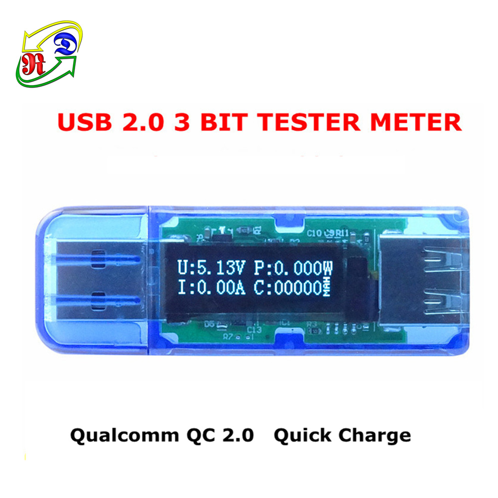 RD white font color OLED USB detector voltmeter ammeter power capacity tester meter voltage current mobile usb power charger(China (Mainland))