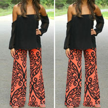 Womens Floral Casual Wide Leg Long Stretch Pants Bohemian Loose Palazzo Trousers(China (Mainland))