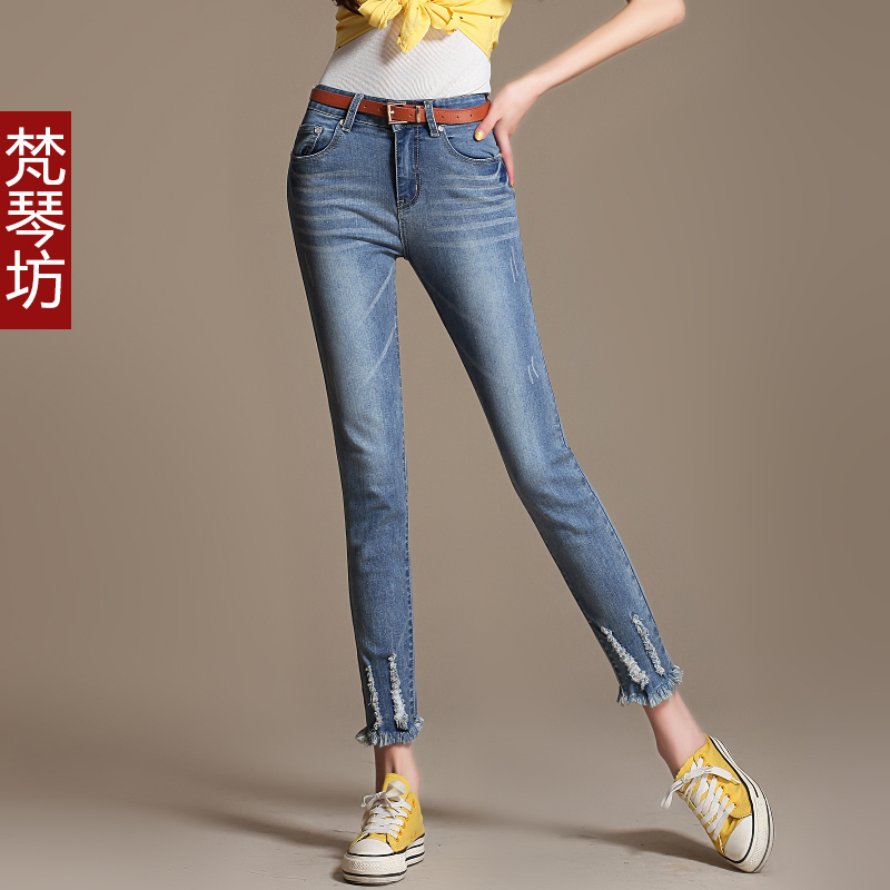 summer spring autumn fashion normic ankle length trousers thin casual capris 9 pants plus size hole jeans elastic - Online Store 918297 store