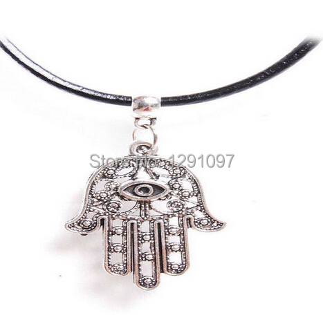 Evil Eye Hamsa Hand Charm Black Real Leather Choker Necklace Antique Silver15 inch  -  7 kingdom store
