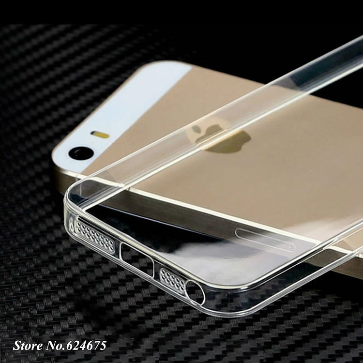 5 s 0.3mm Soft Silicon Case iPhone 5s 5g apple Logo Clear Transparent Skin Silicone Cover Ultra Thin Mobile Phone Bag - JFVNSUN Factory Store store
