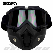 New Beon motorcycle face mask dust mask with detachable Goggles And Mouth Filter for modular for Open Face moto Vintage Helmets(China (Mainland))