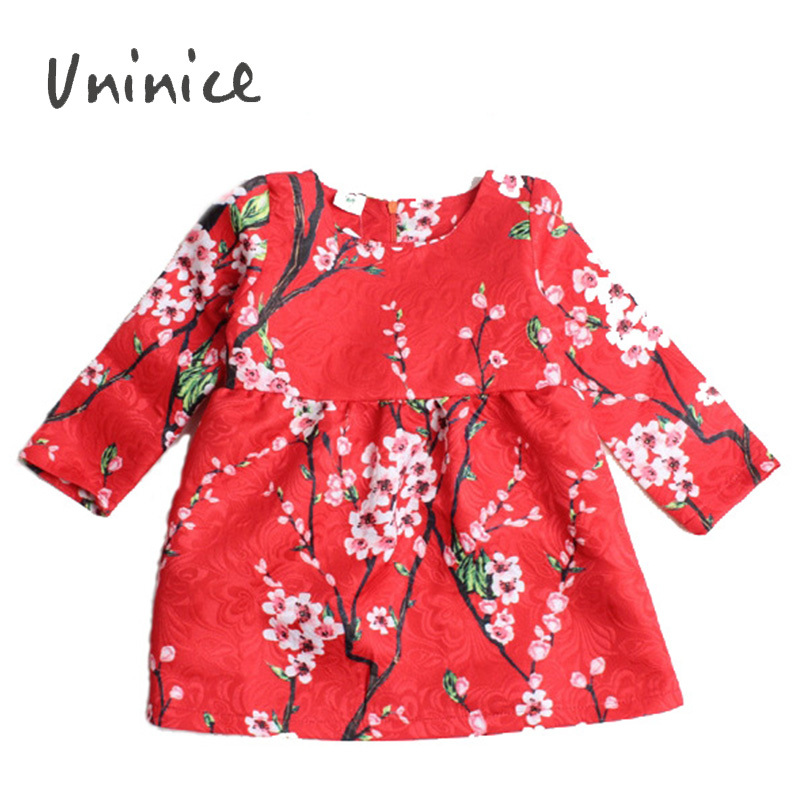 2015 Spring&Autumn new fashion casual high quanlity girl dress print long sleeve lovely girls dresses 2~7 years - UNINICE Children Clothes Store store