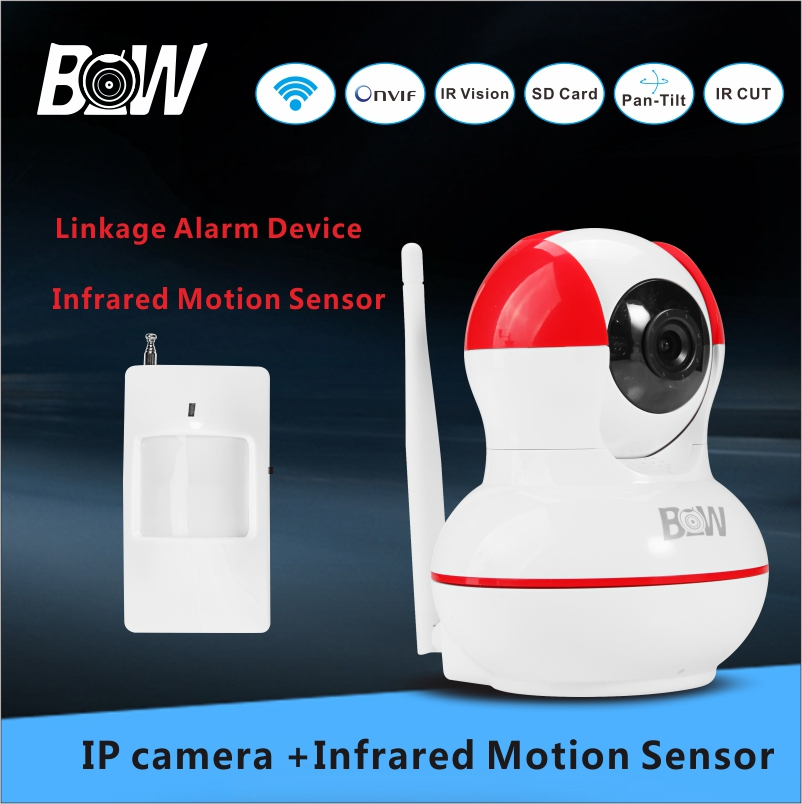 BW Full HD Camera Video Surveillance Camera Detector +Infrared Motion Sensor Security Alarm System CCTV Wifi Camera IP BWIPC012R(China (Mainland))