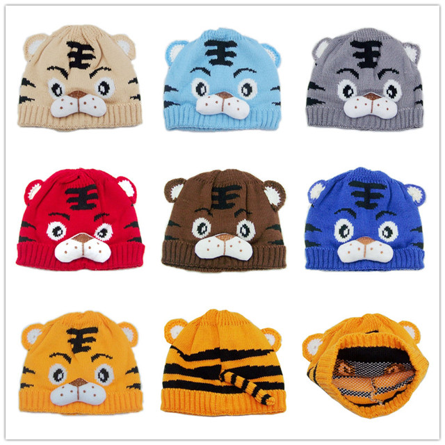 Children tiger hat cartoon baby crochet beanie infant knitted linecaps toddler cap Kids children caps 10pcs lot H001