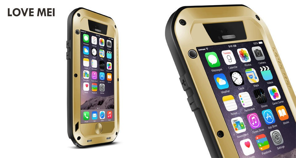 for iphone 6s Love Mei Waterproof Shockproof Gorilla Glass Metal Aluminum phone Case Cover For iphone 6 4.7inch