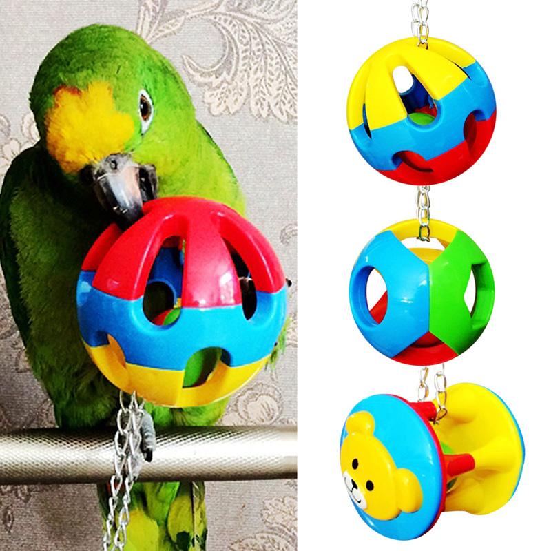 Pet Bird Bites Toy Parrot Chew Ball Swing Cage Hanging Cockatiel 3 style PTSP